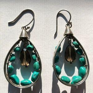 Silpada Earrings Turquoise & Smokey Quartz - W2215
